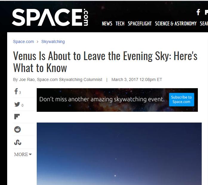 venus leave evening sky